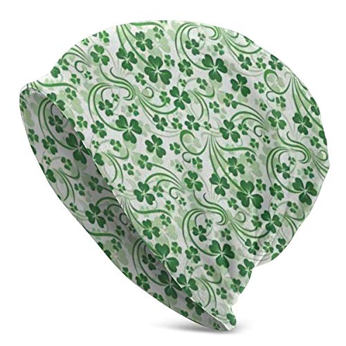 AEMAPE Strickmütze St Patrick's Lucky Celtic Clovers Swirls Beanie Männer Frauen - Unisex Winter Warm Slouchy Skull Tägliche Strickmütze