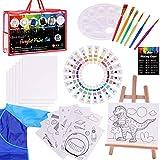 Paint Set for Kids,47 Piece Kids Art Set Paint Easel Includes 24 Acrylic Paints,Table Top Easel,Art Smock,6 Paint Brushes,12 Pcs 8x10 Canvas,Paint Palette,Art Set for Kids (Travel Bag Included)