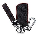 kwmobile Accessoire Clé de Voiture Compatible avec VW Golf 8 3-Bouton - Coque de Protection en Simili Cuir - Carbone Noir-Rouge