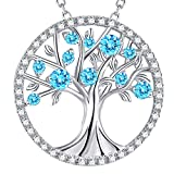GinoMay Mothers Day Gifts Mum Birthday Gifts Wife Jewellery March Birthstone Aquamarine Necklace Tree of Life Sterling Silver Jewellery Her Women