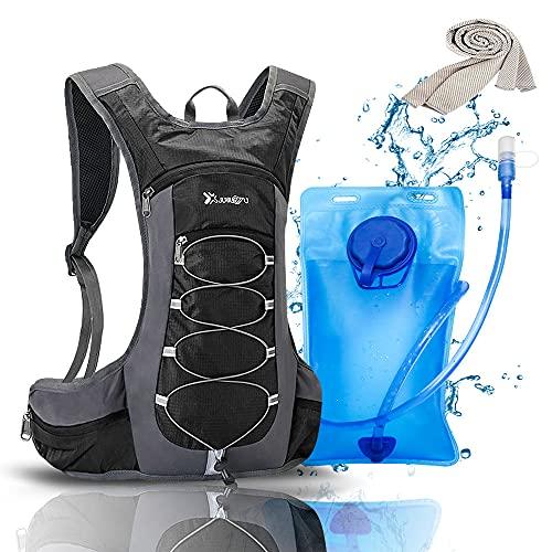 Zaino con sacca d'acqua da 2 l, tattico con tubo per bere, perfetto per escursioni, ciclismo, jogging, arrampicata e alpinismo, con sistema di idratazione per uomini e donne (nero)