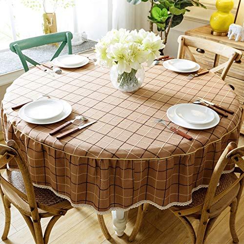 Nappe Ronde - Salon Nappe Table Basse En Tissu Maison Nappe Antidérapante Table Style Pastoral Hôtel Grande Nappe Ronde (Couleur : Brown, taille : Diameter 100cm)