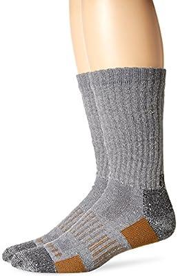 Carhartt Men's 2 Pack All-Terrain Boot Crew Socks, Grey, Shoe Size: 6-12