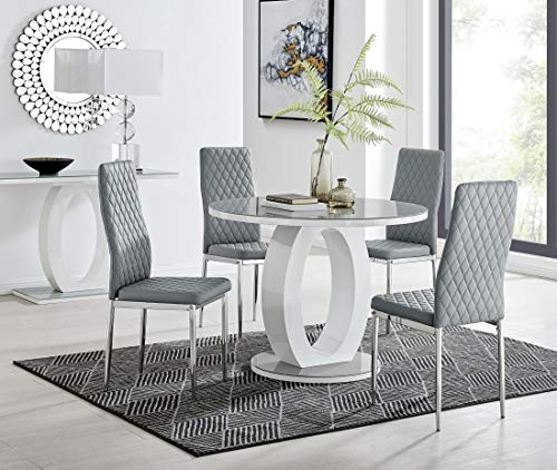 Furniturebox UK Giovani Modern Stylish Grey/White High Gloss And Glass 100cm Round Dining Table And 4 Contemporary Milan Chairs Set (Dining Table + 4 Grey Milan Chairs)