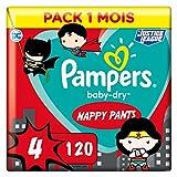 Pampers Couches-Culottes Baby-Dry Pants Taille 4 (9-15kg) Maintien 360° pour Éviter les Fuites, Faciles à Changer, Édition Super-Héros, 120 Couches-Culottes (Pack 1 Mois)