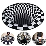 3D Vortex Illusion Rugs Round Area Ultra Durable Velvet Rugs Lattice Optical Zebra Black Hole Stereo Vision Black and White, Non-Slip Floor Carpet Mat for Room Decor Outdoor (23.62x23.62 in)