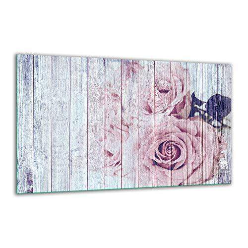 Herdabdeckplatte Ceranfeld 1 Teilig 80x52 Blumen Pink Kochplatten Glas Induktion