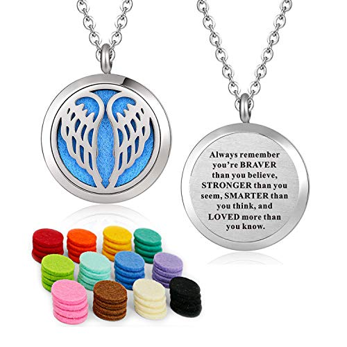 YOUFENG Essential Oil Necklace Diffuser Family Tree of Life Necklace Pendant Aromatherapy Locket Gifts (Angel Wing)