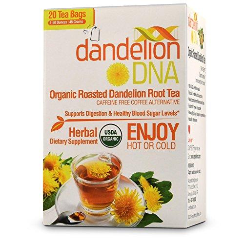 MatchDNA CERTIFIED USDA Organic Roasted Dandelion Root Tea (20 Individually Wrapped Tea Caffeine Free Bags)