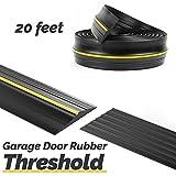 Panady Universal Garage Door Bottom Threshold Rubber Seal Strip 20Ft Black DIY Weather Stripping Replacement Weatherstripping Seals Flood Barrier for Garage Doors Insulation