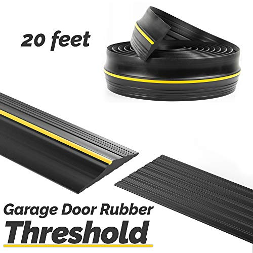 Panady Universal Garage Door Bottom Threshold Rubber Seal Strip 20Ft Black DIY Weather Stripping Replacement Weatherstripping Seals Flood Barrier for Garage Doors Insulation