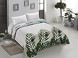 AmeliaHome 00158 Tagesdecke 200x220 cm weiß grün grau Bettüberwurf zweiseitig Steppung leicht zu pflegen Monstera Blätter Pflanzenmuster stahl hellgrün seladongrün anthrazit Makia