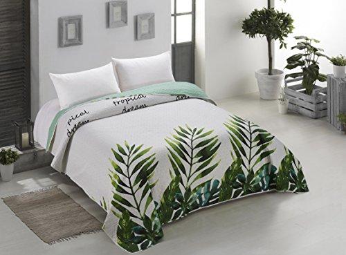 AmeliaHome 00189 Tagesdecke 260x280 cm weiß grün grau Bettüberwurf zweiseitig Steppung leicht zu pflegen Monstera Blätter Pflanzenmuster stahl hellgrün seladongrün anthrazit Makia