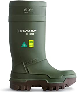 Dunlop Protective Footwear E66284306 Purofort Thermo+ Full Safety Omega/EH Cold Protection Boot, Premium Insole, -58°F Cold Insulation, Steel Toe Cap, Green/Brown, Size 6