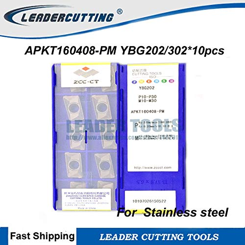 FINCOS APKT160408-PM YBG202 YBG30210pcs ZCCCT Milling Inserts,Cutting blade for Holder BAP400R,Mill Cutting tips for Stainless Steel - (Insert Width(mm): APKT160408-PM YBG202)