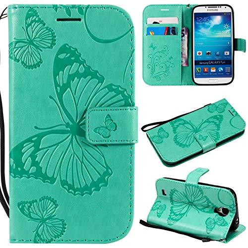 Ycloud PU Cuero Funda para Samsung Galaxy S4 Cierre Magnético Flip Billetera Soporte Función con Ranuras Diseño 3D Mariposa Verde Carcasa para Samsung Galaxy S4 (i9500) 5.0pulgada