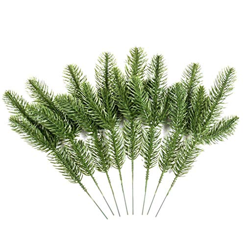 LHHZAL 12pcs Artificial Pine Needles Branches Garland Green Plants Pine Needles Fake Greenery Pine Picks for DIY Garland Wreath Christmas Embellishing Decoration