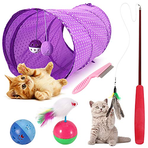 Emooqi Cat Toys, Kitten Toys 6 Pcs Cat Toys For Indoor Cats Cat Interactive Toys Include Cat Tunnel Feather Wand, Butterfly Chase Kitten Cat Playing Toy Fluffy Mouse Mice Balls And Bells Toys