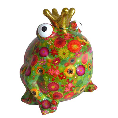 Pomme Pidou XL Spardose Frosch grün mit Blumen bunt 17x28 cm Froschkönig Sparbüchse Geldgeschenk