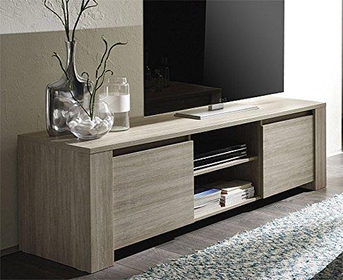 Mobile porta tv moderno IVO finitura tinta rovere gessato rovere grigio cm. 181x56x51