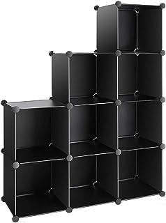 収納棚 整理棚 本棚 終身交換承り メタルラック ワイヤー収納ラック 衣類収納ボックス 自由DIY (9BOX 黒い)