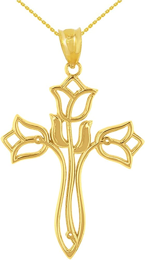 Ranking TOP16 Religious Our shop most popular Jewelry by FDJ Beautiful Yellow Gold Tulip 14k Floral