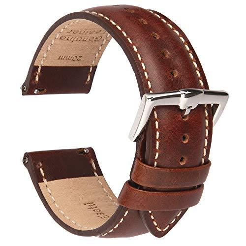 B&E Correa de Reloj de Cuero de Liberación Rápida - Correas de Estilo Elegante para Hombres y Mujeres para Relojes Tradicionales e Inteligentes - 18 mm 20 mm 22 mm de Ancho Disponible-BNWT20