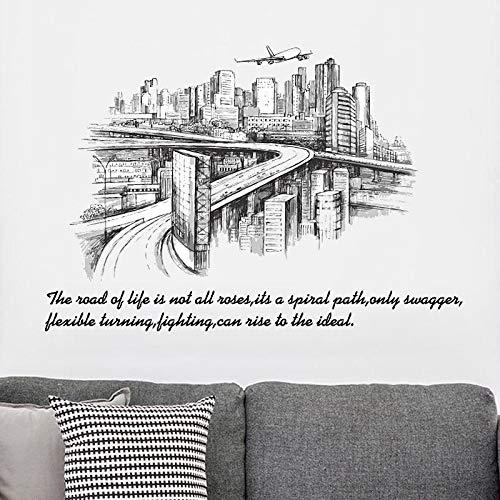 sxh28185171 Urban Traffic Wandaufkleber Europäischer Stil Wohnzimmer Schlafzimmer Hintergrund Heimdekoration Kunst Aufkleber Wandbild 90 cm x 60 cm