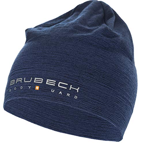 BRUBECK Outdoor Mütze Damen   Funktionsmütze nahtlos temperaturregulierend   Wandern   Blaue Sportmütze Merino dünn   Trekking   Skull Cap   48% Merinowolle   Gr. S - M   Navy   HM10180