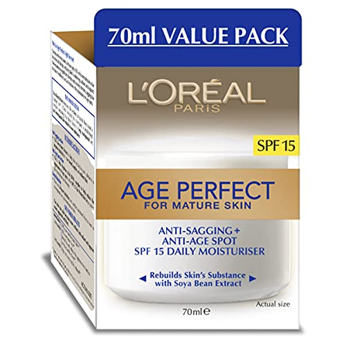 Day Moisturizer, LOreal Paris Age Perfect Anti-Aging Day Cream Face Moisturizer With Soy Seed Proteins and SPF 15 Sunscreen for Sagging Skin and Age Spots, Evens Tone and Hydrates Deeply, 2.5 Oz