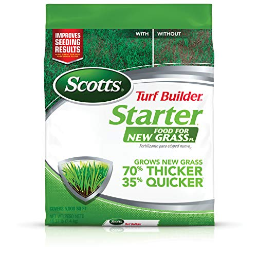 Scotts Turf Builder Starter Food for New GrassFL - 5,000 sq. ft., Florida Lawn Fertilizer for New Lawns and Reseeding, Improves Seeding Results, Grows Strong Roots, Use On All Grass Types, 16.37 lbs.