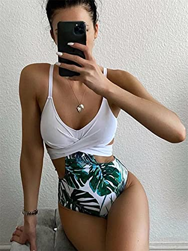 XUNHOU Bañador Escote en V Traje de Baño de Una Pieza,Traje de baño de una Pieza con Bloques de Color,Bikini Sexy con Espalda Abierta-Red_S,Bikini Mujer Conjunto Sexy Cuello en V