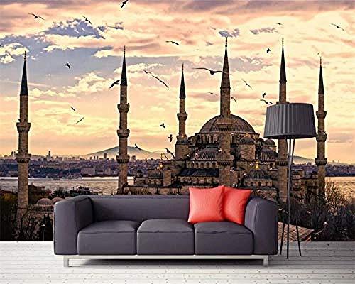 Vintage Architektur Halal Muslim Creative Series HD Kunstdruck Wandmalerei Poster Bild Große Seide Wandbild für Woh wandpapier fototapete 3d effekt tapete tapeten Wohnzimmer Schlafzimmer-400cm×280cm