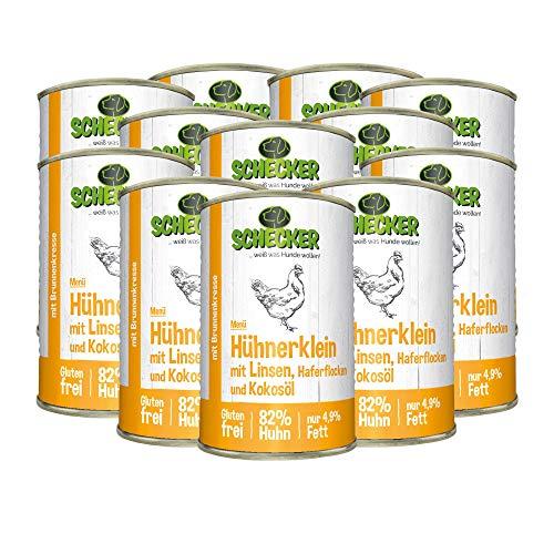 Schecker 12 x 410g Nassfutter Dosenfutter mit 82% Huhn Hühnerklein mit Linsen Haferflocken und Kokosöl nur 4,9% Fett