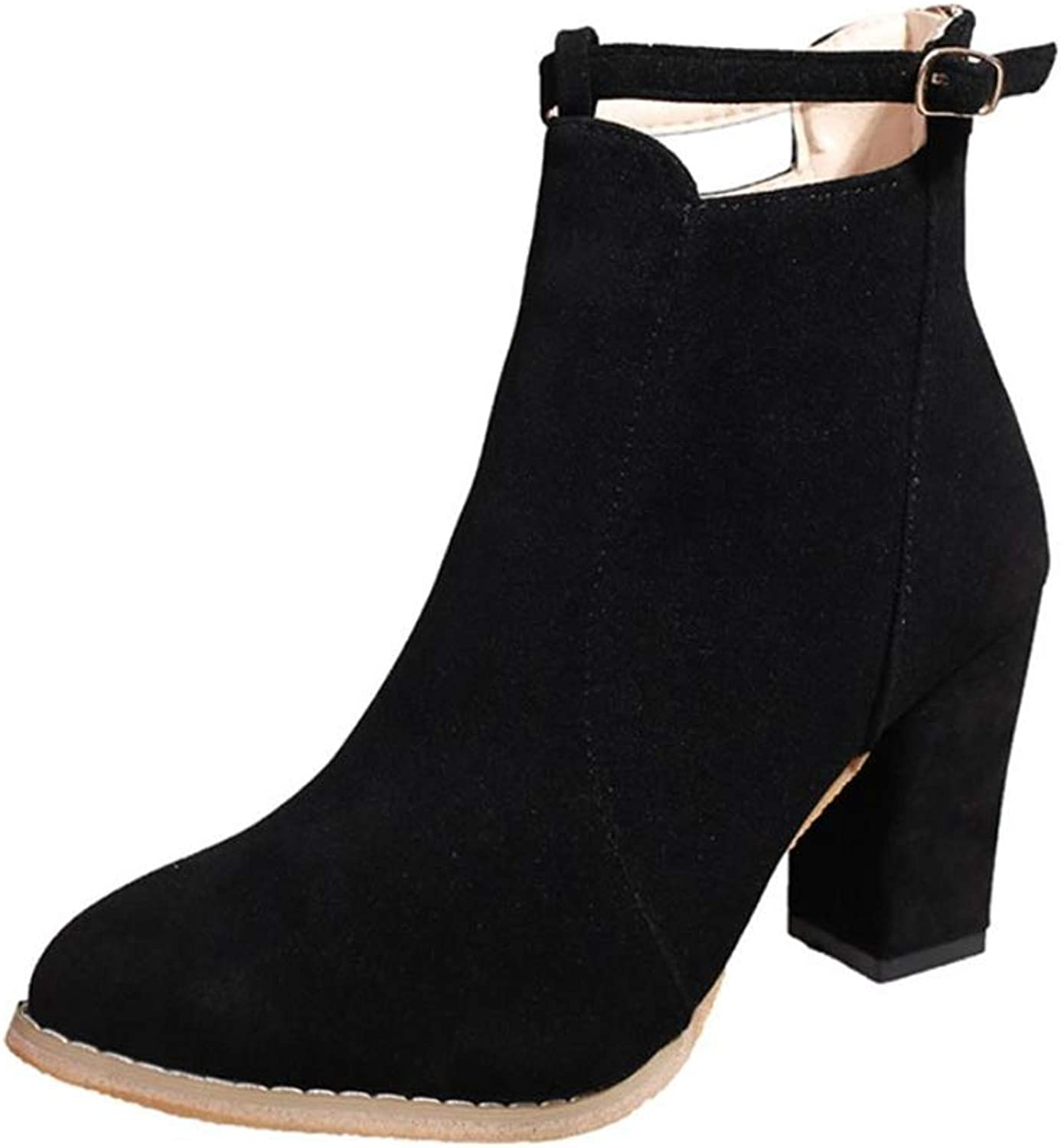 Cici shoes Womens Ginny Faux Leather Stacked Heel Studded Ankle Boots