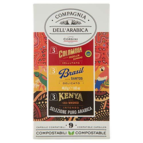 Café Corsini Arábica Selección de origen único Colombia, Brasil, Kenia Sistema Nespresso compatible Compagnia dell