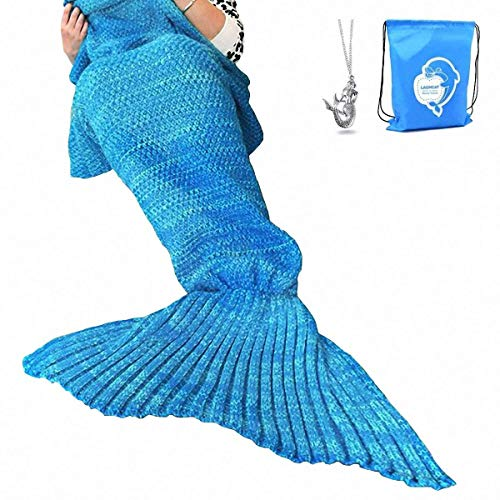 LAGHCAT Mermaid Tail Blanket Crochet Mermaid Blanket for Adult, Soft All Seasons Sleeping Blankets,...