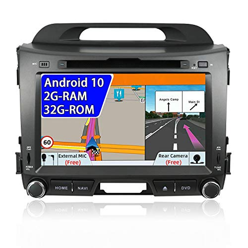 Android 9.0 Autoradio Stéréo Pour Kia Sportage 2010-2015 Voiture GPS Navigation Head Unit | 2 DIN 8 Inch 2G+32G | Caméra arrière & Canbus GRATUITES |Soutien DVD/Dab+/USB/4G/WLAN/Bluetooth/MirrorLink