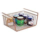 mDesign Cesta Colgante de Metal Resistente a la corrosión – Cestas metálicas Grandes para Cocina y despensa – Robustos estantes de Cocina para Alimentos y Utensilios de Cocina – cobrizo