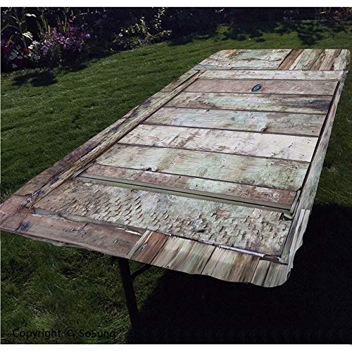 Rustic Polyester Fitted Tablecloth,Old Rustic Barn Door Cottage Country Cabin Theme Rural Mystic Entrance of Home Decorative Rectangular Elastic Edge Fitted Table Cover,Fits Rectangular Tables 48x24'