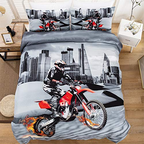 3D Printed Motocross City Scape Design Duvet Cover Set Bedding Set,Soft Microfiber,2 Pillowcases,Hidden Zipper,Double Size 200 x 200cm