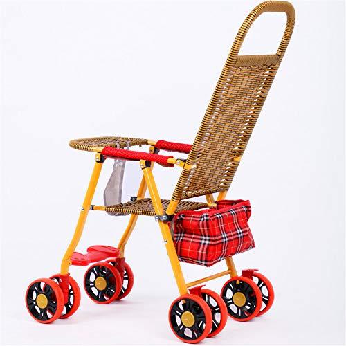 Baby Bambus Rattan Rattan Rattan Bambus Rattan Klappstuhl Baby Kind Kind Rattan Rattan Wagen Tyrant Gold Folding Acht Runden + Regenbogen-Pad