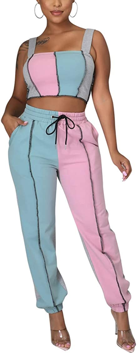 Women's Sexy Sweatsuit Ultra-Cheap Deals Set 2 Piece Limited time for free shipping Tank Lon Color Top Block