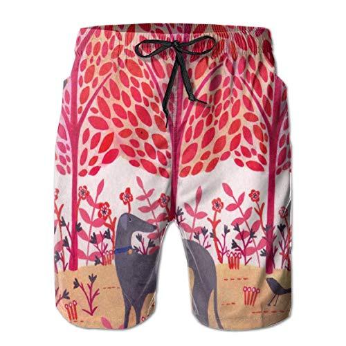 Otoño Greyhound Dog Pink Men Fashion Swim Trunks Pantalones Cortos Deportivos de Secado rápido Pantalones Cortos de Playa de Verano Pantalones Cortos con Bolsillo M