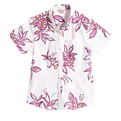 [MAJUN (マジュン)] 国産シャツ かりゆしウェア アロハシャツ 結婚式 レディース シャツ ボタンダウン ミラクルフルーツ ピンク S