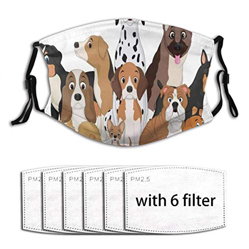 Pet Funny Dogs Animals Doggy Wildlife Adorable Agility Animal Basset Hound Group Beagle Unisex Windproof and Dustproof Reusable Mouth Covering 6 Filters