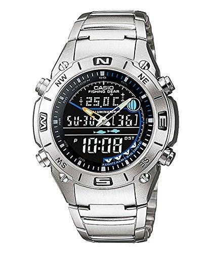 Reloj analógico digital CASIO -OUTGEAR- AMW-703D-1AV - Funciones de pesca, Termómetro, Datos lunares - Sumergible - Caja y cadena de Acero inoxidable