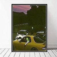 MKAN トラビススコットラッパーミュージックスターファッションアストロワールドポスタープリントアート絵画、キャンバス壁の写真、部屋の家の装飾-70X100Cm
