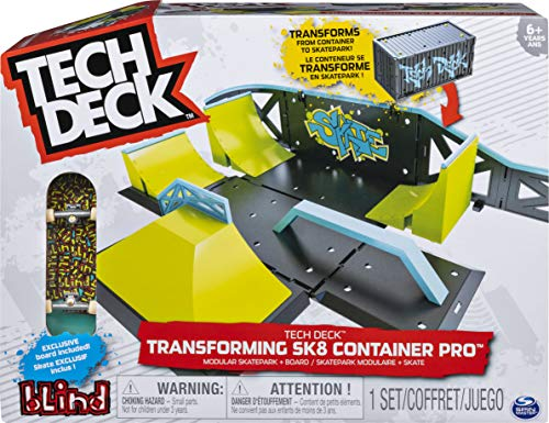 Tech Deck, Transforming SK8 Container Pro Modular Skatepark and Board, for Ages 6 and Up (Edition,Colors May Vary)
