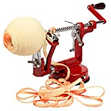 Apple Peeler and Corer by Cucina Pro - Long Lasting Chrome Cast Iron with Countertop Suction Cup